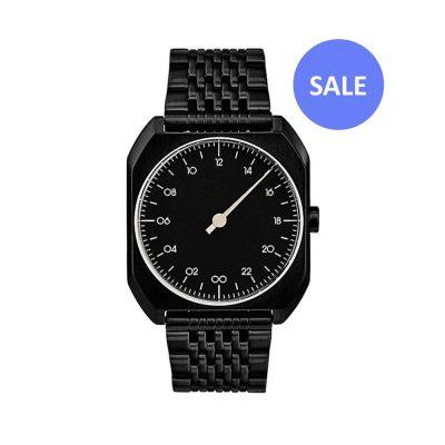 slow-Mo-03-One-hand-wrist-watch---All-black-steel---Swiss-Made - Sale
