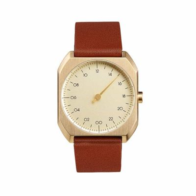 slow Mo 07 - Single-handed wrist watch - Gold octagon case, brown leather stral